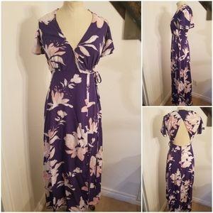 Lulu's Wrap Floral Maxi Dress V Neck Open Back S